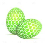 Abstract Eggs with Green Dollar Symbol Pattern